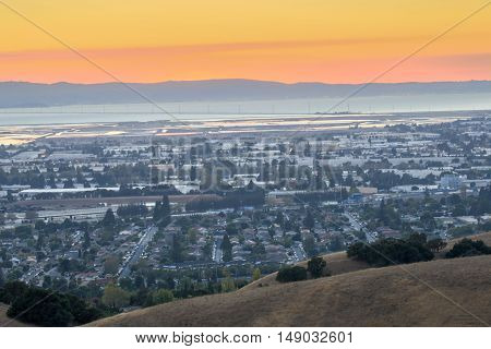 Hazy Sunset over Silicon Valley from Garin-Dry Creek Pioneer Regional Park, San Francisco East Bay, California, USA