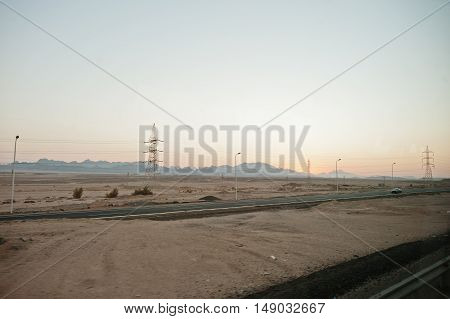 Road With Sand And Hill On Evening Egypt