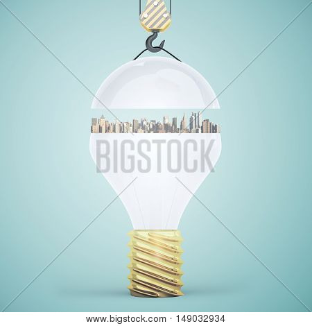 Abstract light bulb with city suspended on crane hook. Light green background. Idea concept. 3D Rendering