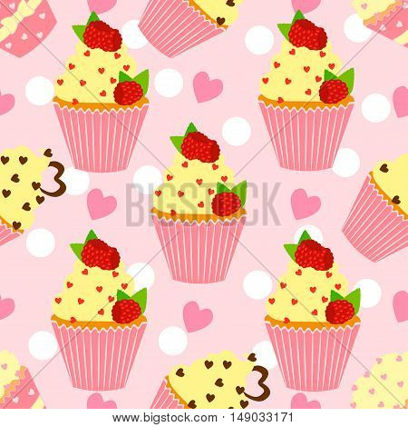 Candy pattern with cupcake and heart on a pink background.