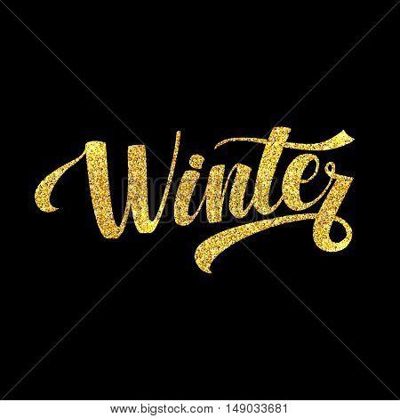 Winter Holidays Card. Golden Shiny Glitter. Lettering Poster Tamplate. Black Background.