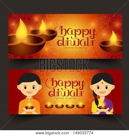 Set of Illustration for Diwali festival with Cute Indian boy and girl, Beautiful lamps