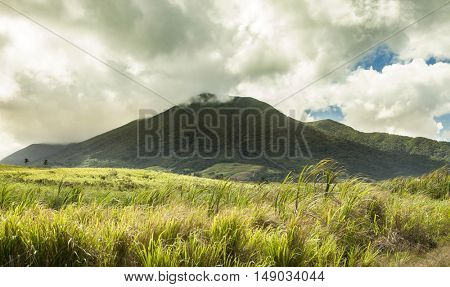 The volcano of Mt Liamuiga on St Kitts, in the Caribbean