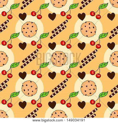 Seamless pattern with delicious chocolate chip cookies. Biscuits wafer sticks and cherry on a orange background.
