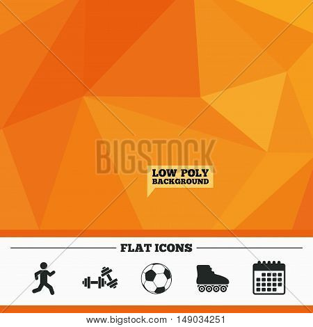 Triangular low poly orange background. Football ball, Roller skates, Running icons. Fitness sport symbols. Gym workout equipment. Calendar flat icon. Vector