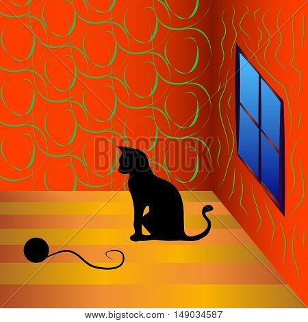 Cat playing with a ball of yarn. Home card with a cat against the window in the room.