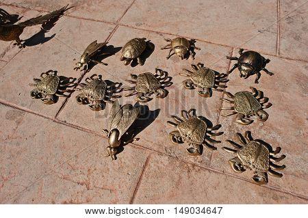 Golden Metal Figures Of Sea Crabs, Scarab Beetle
