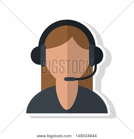 Operator woman with headphone icon. Call center and technical service theme. Isolated design. Vector illustration