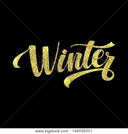 Winter Card. Golden Shiny Glitter. Lettering Poster Tamplate. Black Background Glowing Illustration.