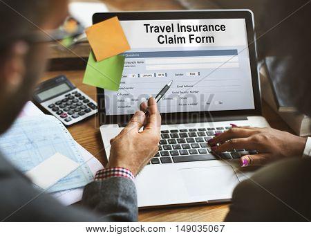 Travel Insurance Claim Form Concept