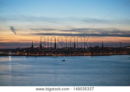 Beautiful Super Wide-angle Panoramic Aerial View Of Stockholm, Sweden With Harbor And Skyline With S