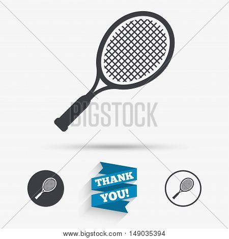 Tennis racket sign icon. Sport symbol. Flat icons. Buttons with icons. Thank you ribbon. Vector