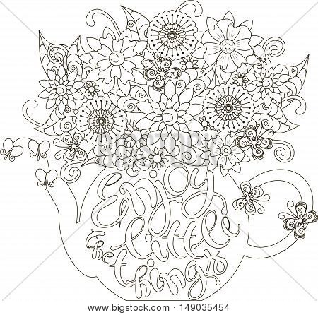 Lettering Enjoy little things, Bouquet in a teapot, coloring page anti-stress vector illustration