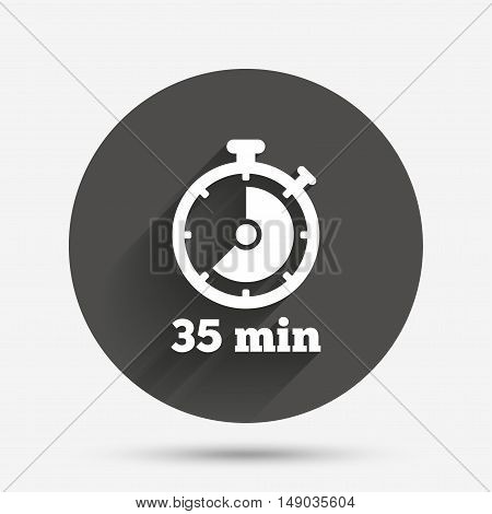 Timer sign icon. 35 minutes stopwatch symbol. Circle flat button with shadow. Vector