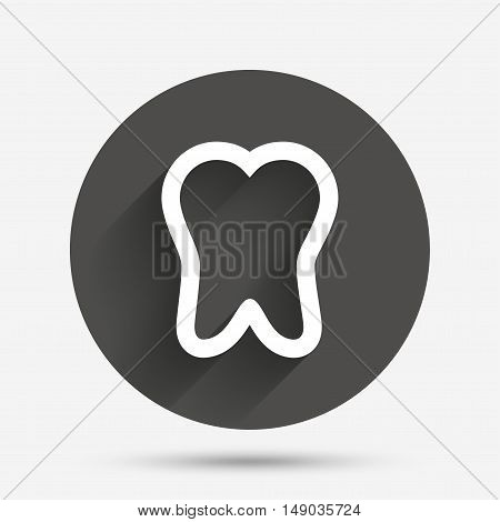 Tooth sign icon. Dental care symbol. Circle flat button with shadow. Vector