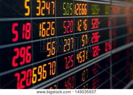 Display electronic board of stock market quotes. Bear market.
