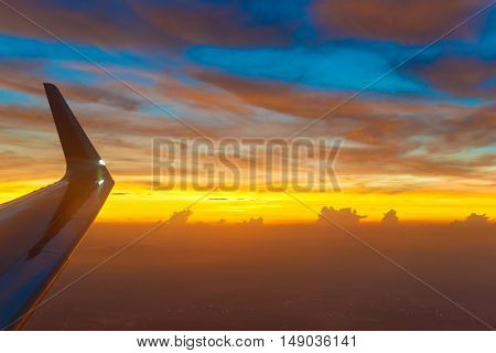 Aerial view from a jet aircraft in the morning.