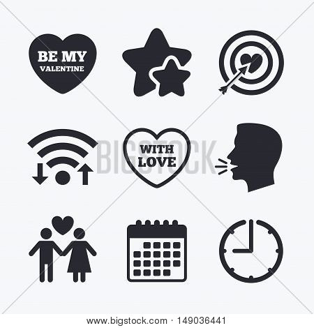 Valentine day love icons. Target aim with heart and arrow symbol. Couple lovers sign. Wifi internet, favorite stars, calendar and clock. Talking head. Vector