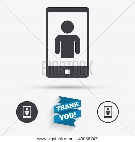 Video call sign icon. Smartphone symbol. Flat icons. Buttons with icons. Thank you ribbon. Vector