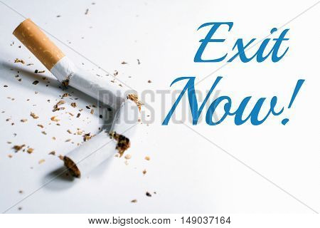 Exit Now Smoking Reminder With Broken Cigarette In Whitebox