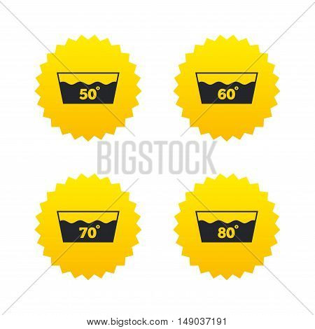Wash icons. Machine washable at 50, 60, 70 and 80 degrees symbols. Laundry washhouse signs. Yellow stars labels with flat icons. Vector
