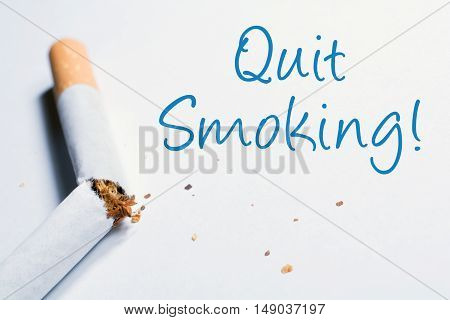 Quit Smoking Reminder With Broken Cigarette In Whitebox