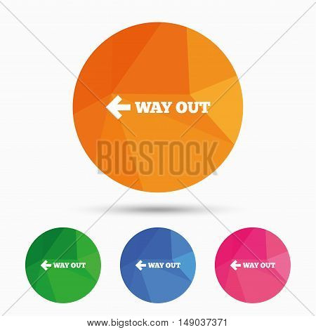 Way out left sign icon. Arrow symbol. Triangular low poly button with flat icon. Vector