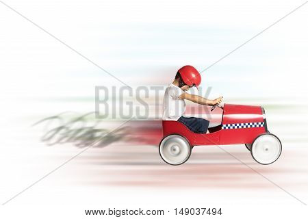 Boy child play and runs with toy car