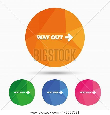 Way out right sign icon. Arrow symbol. Triangular low poly button with flat icon. Vector
