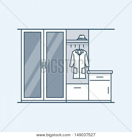 Modern interior hallway with a wardrobe and a bedside table. The mirror in the door. Coat and hat. Vector illustration in a linear style, isolated on a gray background