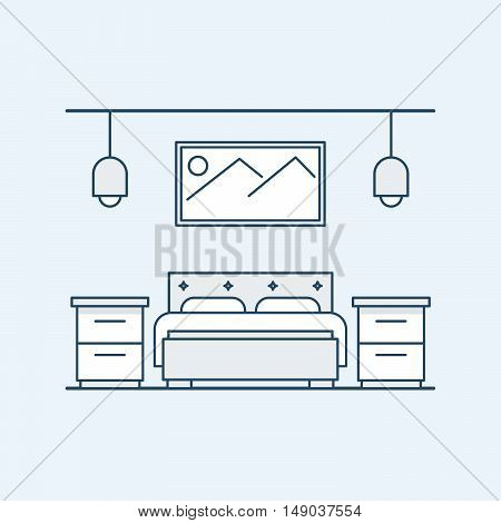 Modern design bedroom with a double bed and bedside tables. The big picture on the wall and light fixtures. Vector illustration in a linear style, isolated on a gray background