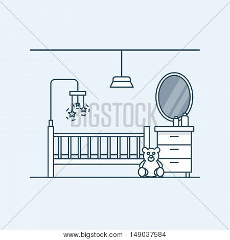 Modern interior design of a child's room. Children's bed with toys and teddy bear. Bedside table and mirror. Vector illustration in a linear style, isolated on a gray background