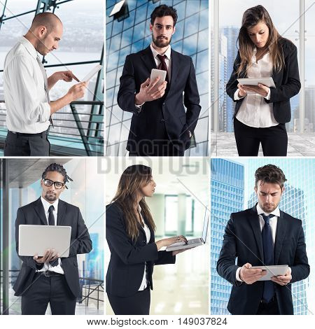 Composition of business photo concept with men and women working with computers