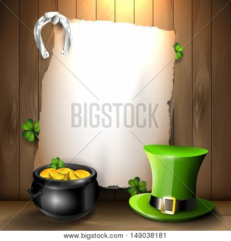 St. Patrick's Day background with green hat pot and empty paper