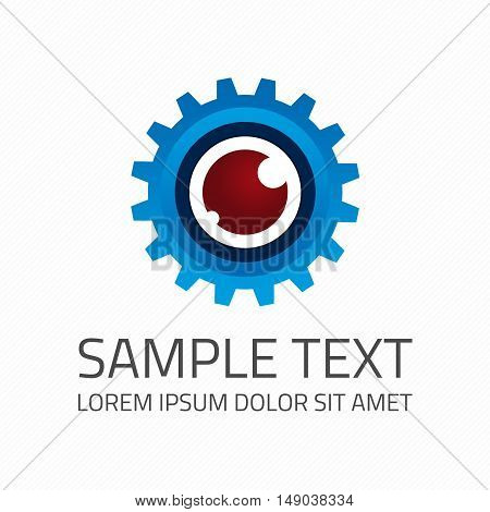 Eye Logo design vector template. Modern media icon. Vision Logotype concept. Cyber eyeball and gear symbol vector emblem.