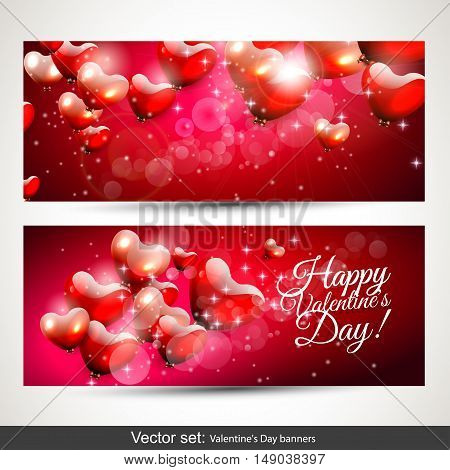 Set of two horizontal Valentine's Day red banners with flying hearts