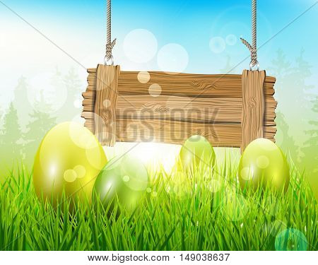 Easter background with eggs and wooden sign with bokeh