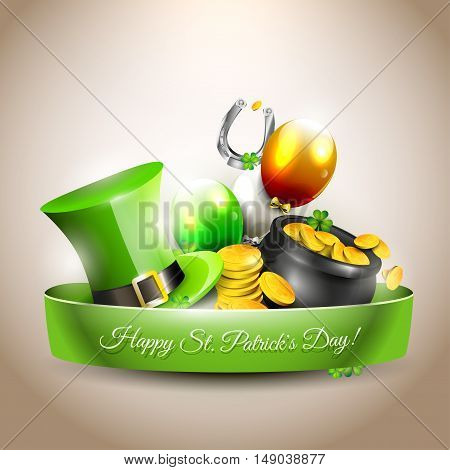 St Patrick's Day - vector icon with hat gold coins in the pot and balloons in the colors of the Irish flag