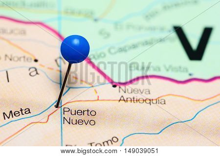 Puerto Nuevo pinned on a map of Colombia