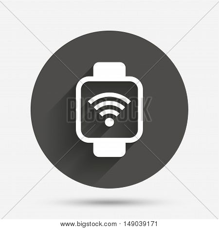 Smart watch sign icon. Wrist digital watch. Wi-fi internet symbol. Circle flat button with shadow. Vector