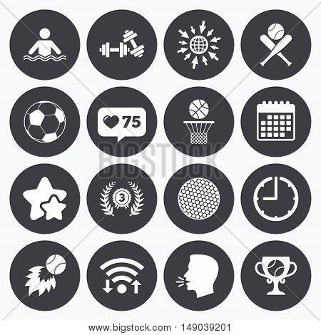 Calendar, wifi and clock symbols. Like counter, stars symbols. Sport games, fitness icons. Football, basketball and baseball signs. Swimming, fireball and winner cup symbols. Talking head, go to web symbols. Vector