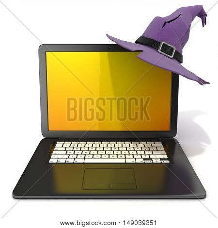 3D rendering of a open black laptop with Halloween colored screen and purple witch hat with black belt. Isolated on white background. Front view