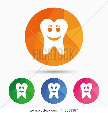 Tooth happy face sign icon. Dental care symbol. Healthy teeth. Triangular low poly button with flat icon. Vector