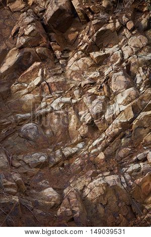 Abstract detail of exposed rock  wall in Tasmania