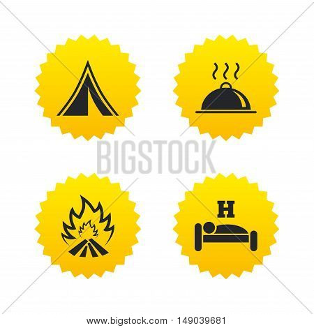 Hot food, sleep, camping tent and fire icons. Hotel or bed and breakfast. Road signs. Yellow stars labels with flat icons. Vector