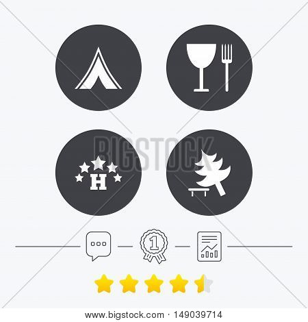 Food, hotel, camping tent and tree icons. Wineglass and fork. Break down tree. Road signs. Chat, award medal and report linear icons. Star vote ranking. Vector