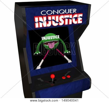 Beat Injustice Conquer Unfair Justice System Video Game 3d Illustration