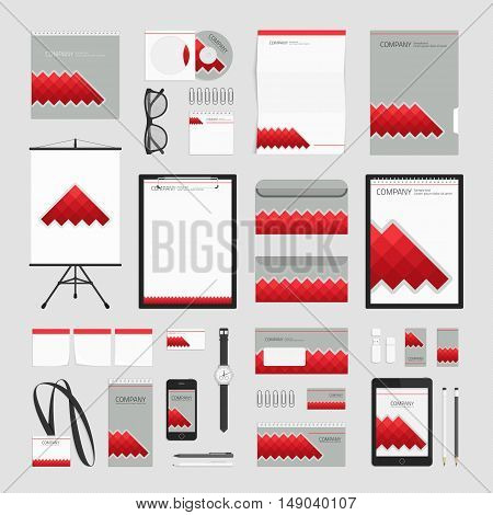 Grey corporate identity template with red elements. Vector company style for brand book and guideline. Business stationery mock-up with logo. Branding design concept. Stationery mock-up with logo.