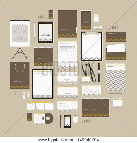 Brown corporate identity template with waves. Vector modern company style for brand book and guideline. Documentation for business. Stationery mock-up with logo. Branding design concept.