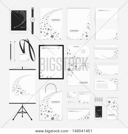 Vector corporate identity template. Modern company style for brand book and guideline. Documentation for business. Branding design concept. Stationery big set design.